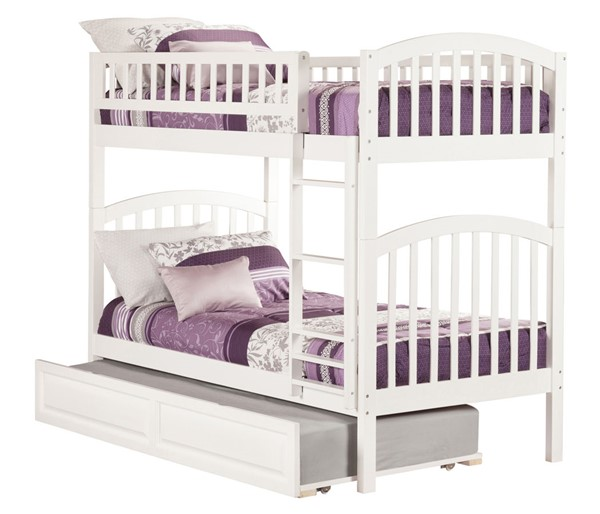 Atlantic Furniture Richland White Raised Panel Trundle Twin Over Twin Bunk Bed AB64132