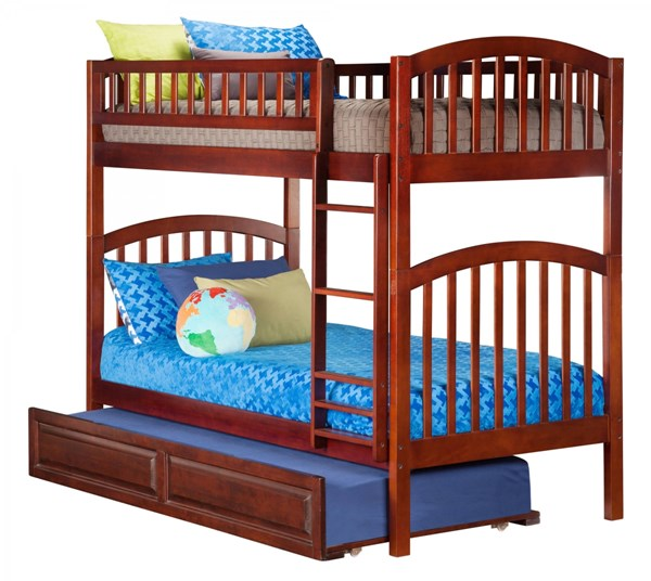 Atlantic Furniture Richland Walnut Raised Panel Trundle Twin Over Twin Bunk Bed AB64134