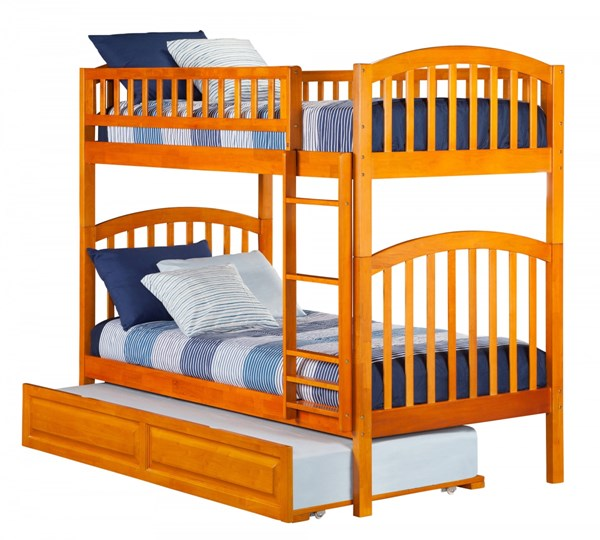 Richland Caramel Latte Wood Twin/Twin Raised Panel Trundle Bunk Bed AB64137