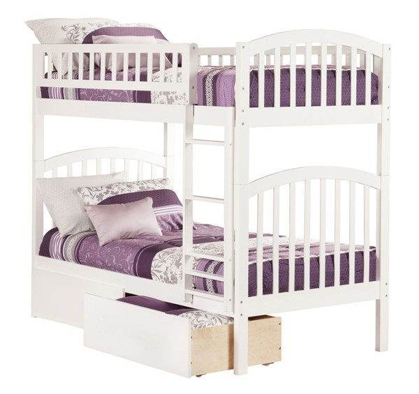 Atlantic Furniture Richland White Urban Drawers Twin Over Twin Bunk Bed AB64142