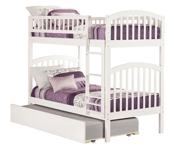 Atlantic Furniture Richland White Urban Trundle Twin Over Twin Bunk Bed AB64152