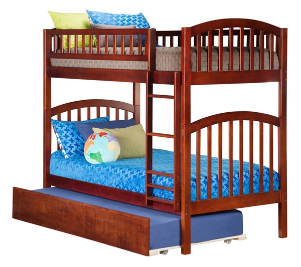 Atlantic Furniture Richland Walnut Urban Trundle Twin Over Twin Bunk Bed AB64154