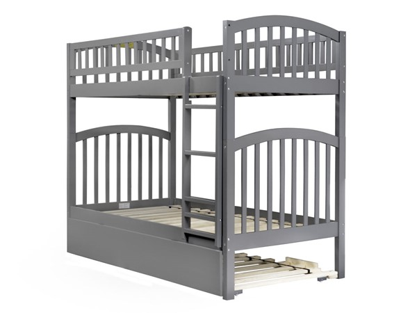 Atlantic Furniture Richland Grey Urban Trundle Twin over Twin Bunk Bed AB64159