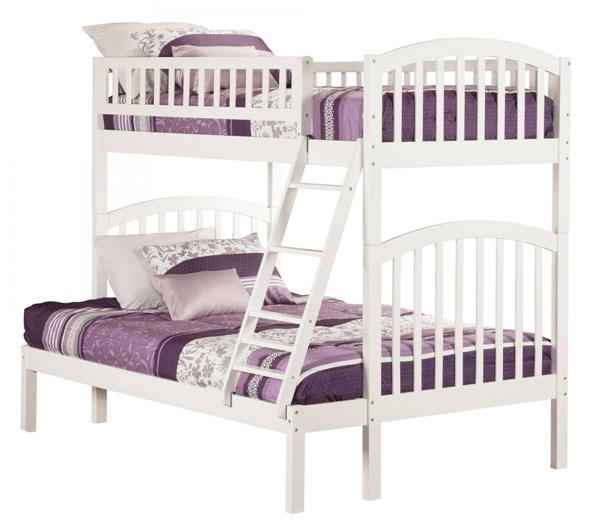 Richland White Wood Twin/Full Built In Ladder Bunk Bed AB64202