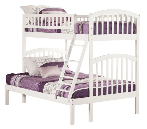 Atlantic Furniture Richland White Twin Over Full Bunk Bed AB64202