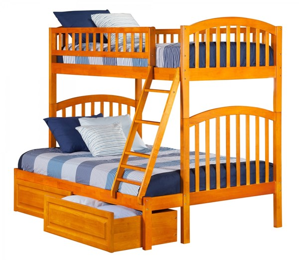 Richland Caranel Latte Wood Twin/Full Raised Panel Drawers Bunk Bed AB64227