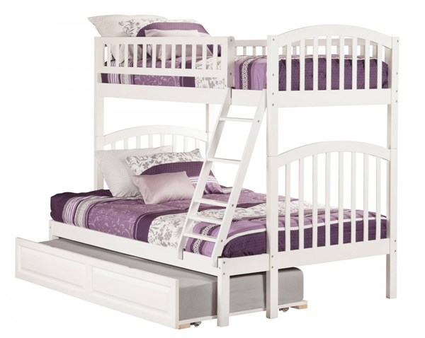 Richland White Wood Twin/Full Raised Panel Trundle Bunk Bed AB64232