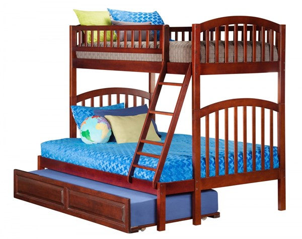 Richland Walnut Wood Twin/Full Raised Panel Trundle Bunk Bed AB64234