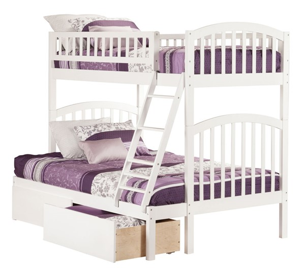 Atlantic Furniture Richland White Urban Drawers Twin Over Full Bunk Bed AB64242