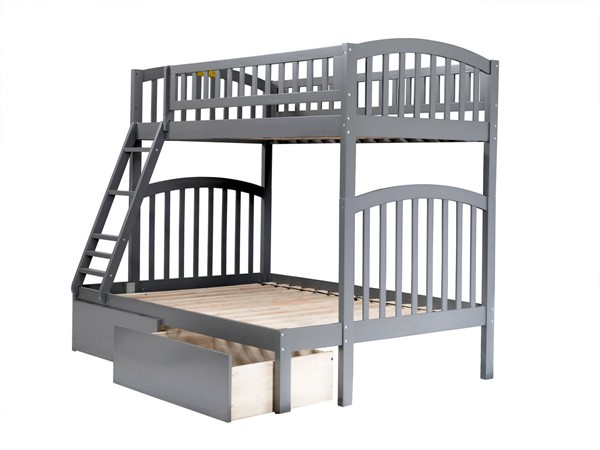 Atlantic Furniture Richland Grey Urban Drawers Twin over Full Bunk Bed AB64249