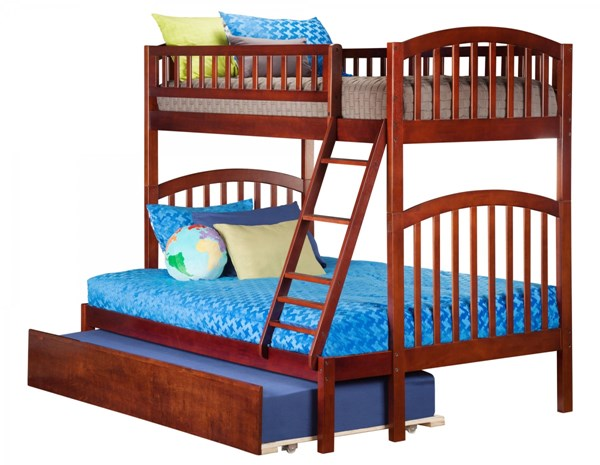 Atlantic Furniture Richland Walnut Urban Trundle Twin Over Full Bunk Bed AB64254