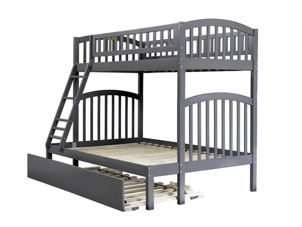 Atlantic Furniture Richland Grey Urban Trundle Twin over Full Bunk Bed AB64259