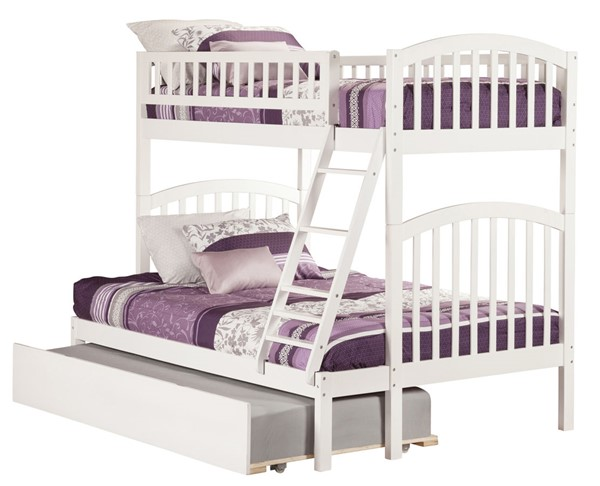 Atlantic Furniture Richland White Twin Over Full Urban Trundle Bunk Bed AB64272