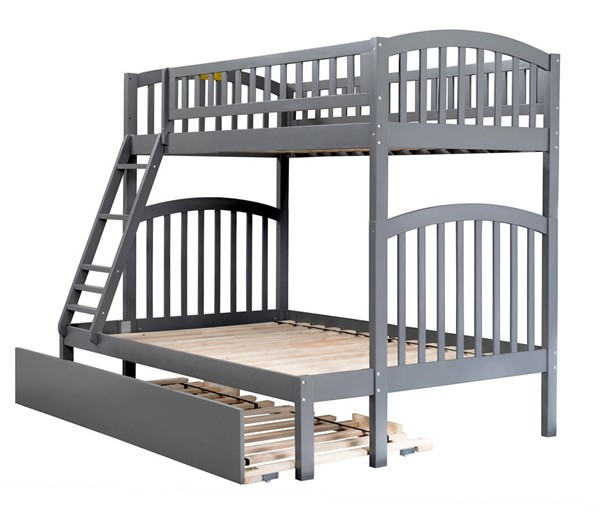 Atlantic Furniture Richland Grey Twin Over Full Urban Trundle Bunk Bed AB64279
