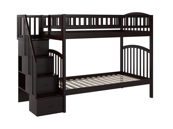 Atlantic Furniture Westbrook Espresso Twin Over Twin Staircase Bunk Bed AB65601