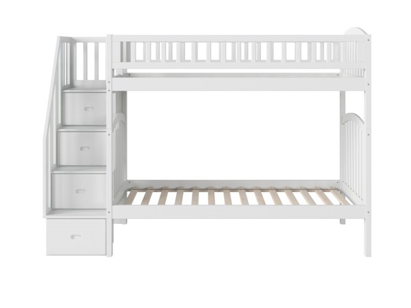 Atlantic Furniture Westbrook White Twin Over Twin Staircase Bunk Bed AB65602