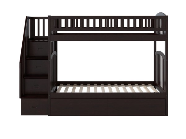 Atlantic Furniture Westbrook Espresso Twin Over Twin Staircase Bunk Bed With Two Urban Drawers AB65641