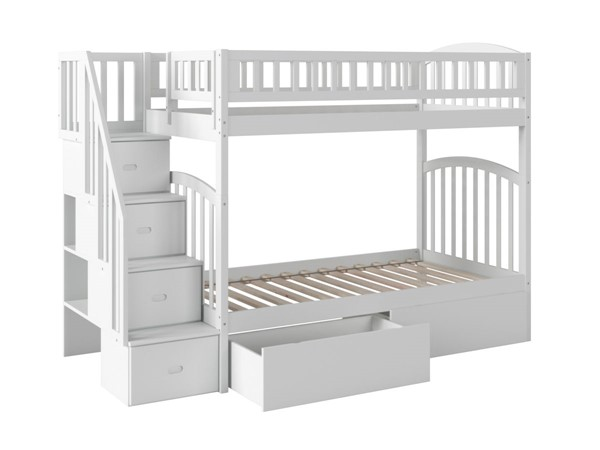 Atlantic Furniture Westbrook White Twin Over Twin Staircase Bunk Bed With Two Urban Drawers AB65642