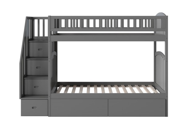 Atlantic Furniture Westbrook Grey Twin Over Twin Staircase Bunk Bed With Two Urban Drawers AB65649