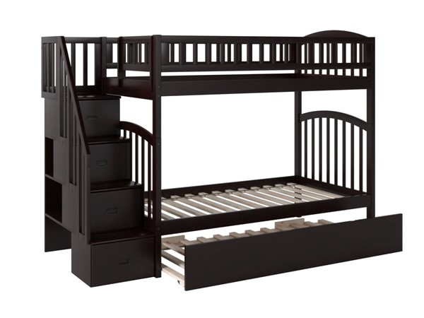 Atlantic Furniture Westbrook Espresso Twin Over Twin Staircase Bunk Bed with Twin Urban Trundle AB65651