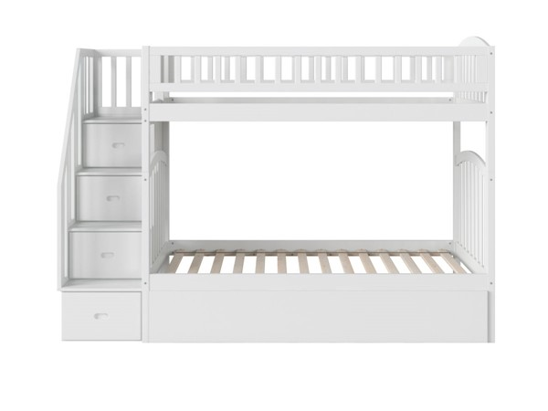 Atlantic Furniture Westbrook White Twin Over Twin Staircase Bunk Bed with Twin Urban Trundle AB65652