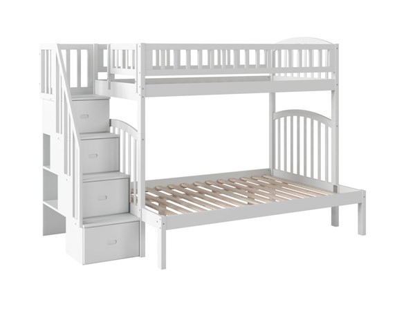 Atlantic Furniture Westbrook White Twin Over Full Staircase Bunk Bed AB65702