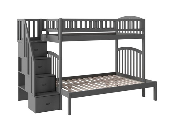 Atlantic Furniture Westbrook Grey Twin Over Full Staircase Bunk Bed AB65709
