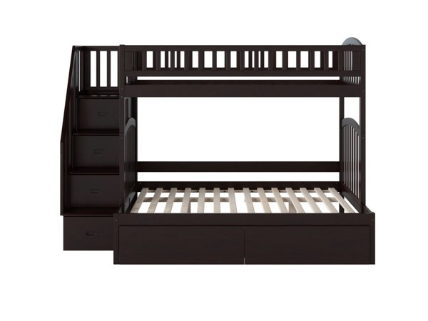 Atlantic Furniture Westbrook Espresso Twin Over Full Staircase Bunk Bed With Two Urban Drawers AB65741