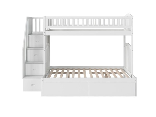 Atlantic Furniture Westbrook White Twin Over Full Staircase Bunk Bed With Two Urban Drawers AB65742
