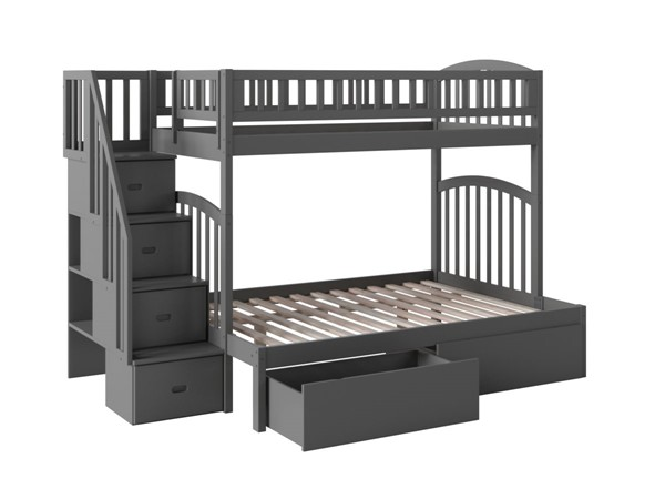 Atlantic Furniture Westbrook Grey Twin Over Full Staircase Bunk Bed With Two Urban Drawers AB65749