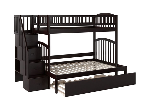 Atlantic Furniture Westbrook Espresso Twin Over Full Staircase Bunk Bed with Twin Urban Trundle AB65751