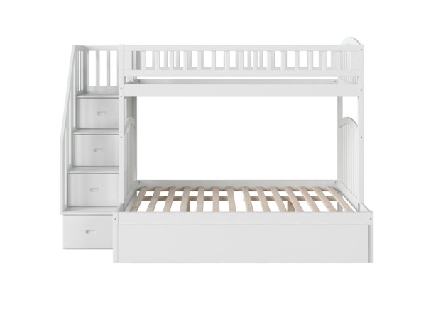 Atlantic Furniture Westbrook White Twin Over Full Staircase Bunk Bed with Twin Urban Trundle AB65752