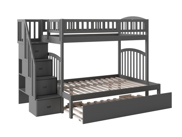 Atlantic Furniture Westbrook Grey Twin Over Full Staircase Bunk Bed with Twin Urban Trundle AB65759