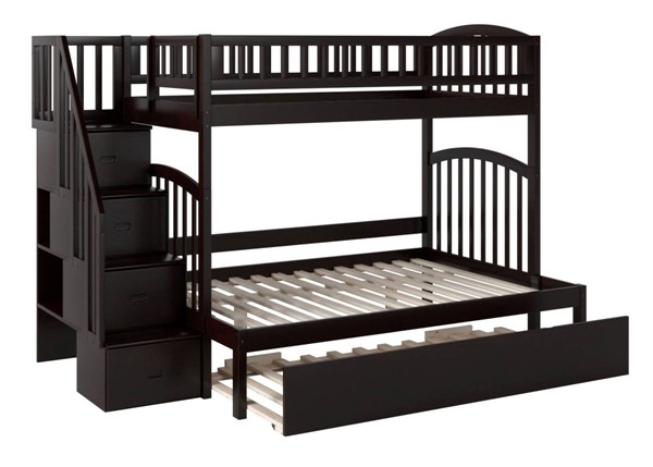 Atlantic Furniture Westbrook Espresso Staircase Twin Over Full Urban Trundle Bunk Beds AB6577-BB-VAR