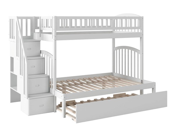 Atlantic Furniture Westbrook White Staircase Twin Over Full Urban Trundle Bunk Bed AB65772