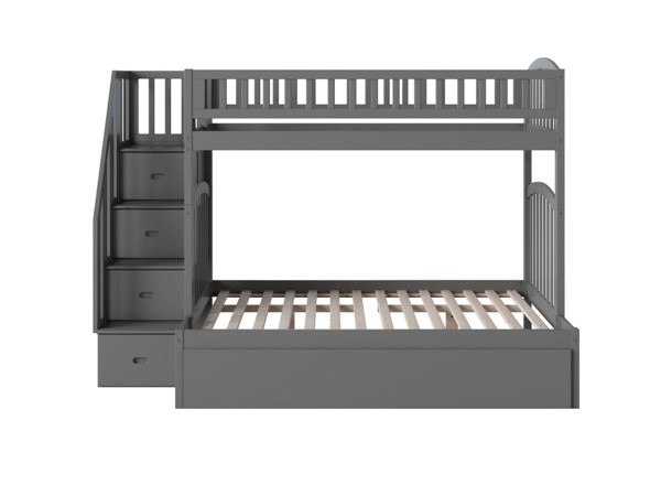 Atlantic Furniture Westbrook Grey Staircase Twin Over Full Urban Trundle Bunk Bed AB65779