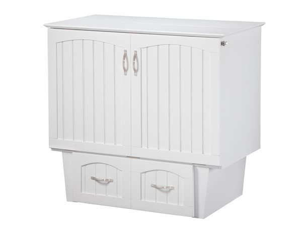 Atlantic Furniture Nantucket White Twin Murphy Chest Bed with Coolsoft Mattress AC592142