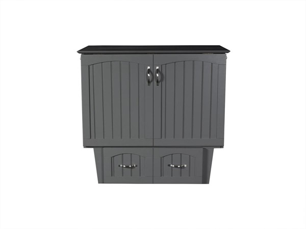 Atlantic Furniture Nantucket Grey Twin Murphy Bed Chest with Cool Soft Mattress AC592149