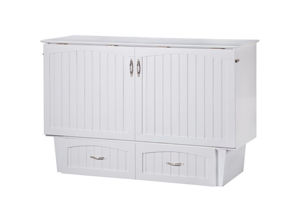 Atlantic Furniture Nantucket White Queen Murphy Chest Bed with Coolsoft Mattress AC5940002
