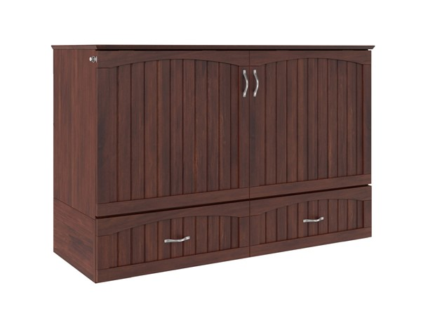 Atlantic Furniture Southampton Walnut Queen Murphy Bed Chest with Charging Station AC614144