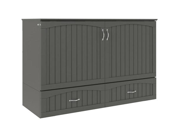 Atlantic Furniture Southampton Grey Queen Murphy Bed Chest with Charging Station AC614149