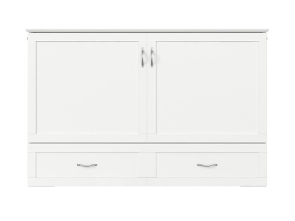 Atlantic Furniture Hamilton White Queen Murphy Bed Chest with Charging Station AC624142