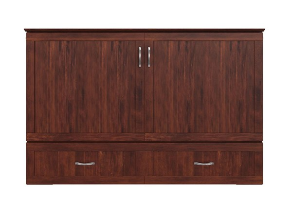 Atlantic Furniture Hamilton Walnut Queen Murphy Bed Chest with Charging Station AC624144