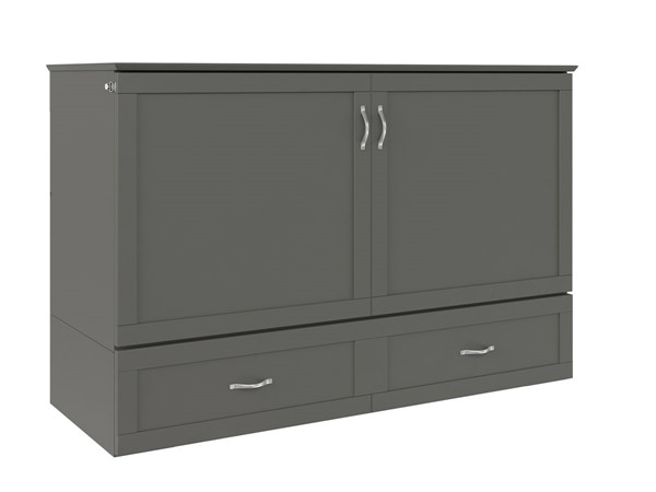 Atlantic Furniture Hamilton Grey Queen Murphy Bed Chest with Charging Station AC624149