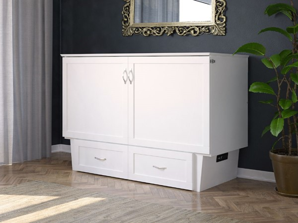 Atlantic Furniture Monroe White Queen Bed Chest with Charging Station and Mattress AC634142