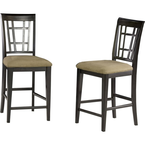 Montego Bay Espresso Solid Wood Pub Chairs w/Cappucino Seat Cushions AD773231