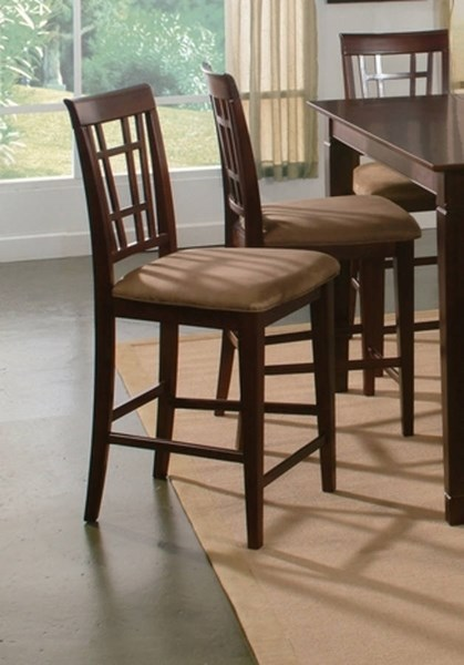 Montego Bay Antique Walnut Wood Pub Chairs w/Cappucino Seat Cushions AD773234