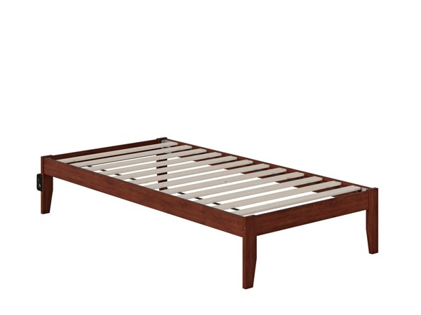 Atlantic Furniture Colorado Walnut Twin Bed with USB Turbo Charger AG8010024