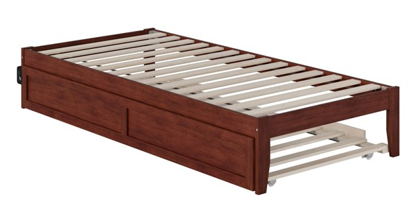 Atlantic Furniture Colorado Walnut Twin XL Trundle Bed with USB Turbo Charger AG8011114