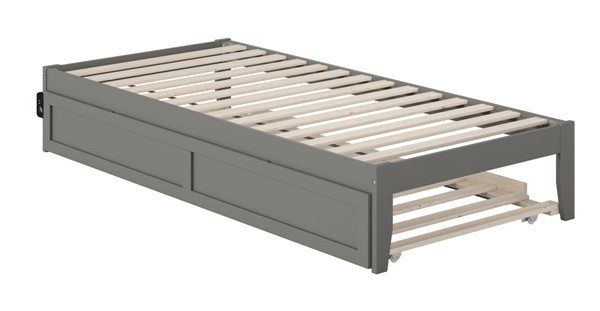 Atlantic Furniture Colorado Grey Twin XL Trundle Bed with USB Turbo Charger AG8011119